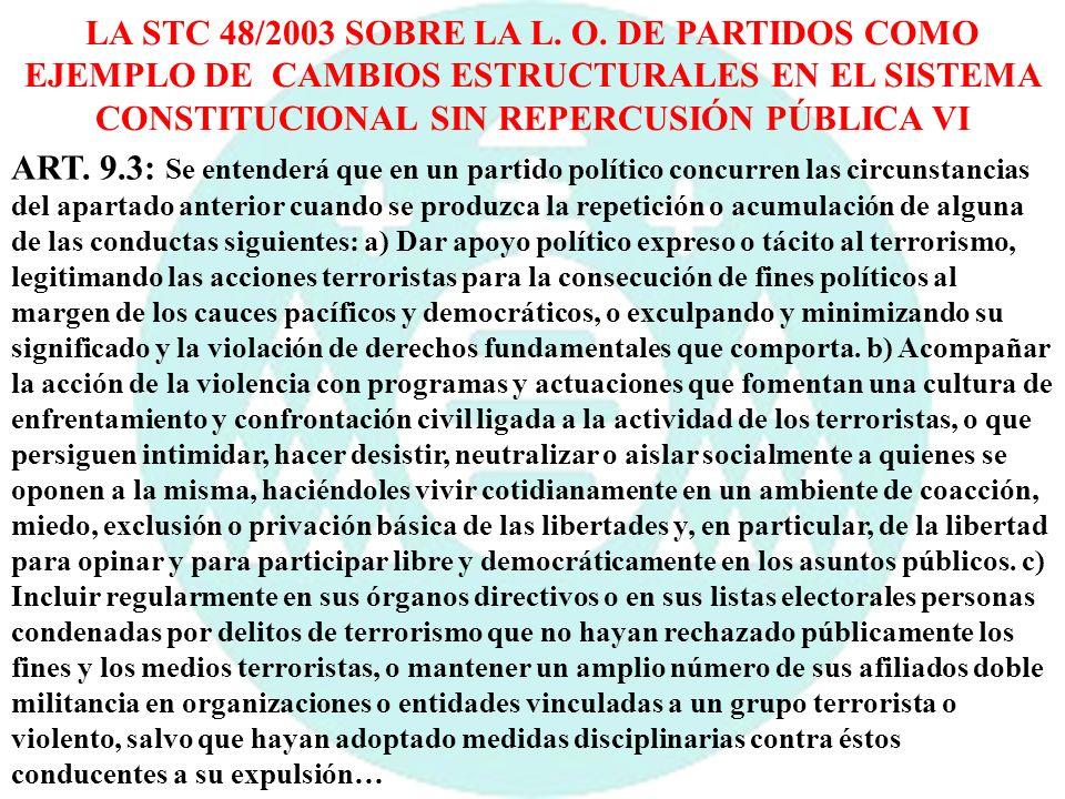 LA STC 48/2003 SOBRE LA L. O. DE PARTIDOS COMO EJEMPLO DE CAMBIOS ESTRUCTURALES EN EL SISTEMA CONSTITUCIONAL SIN REPERCUSIÓN PÚBLICA VI