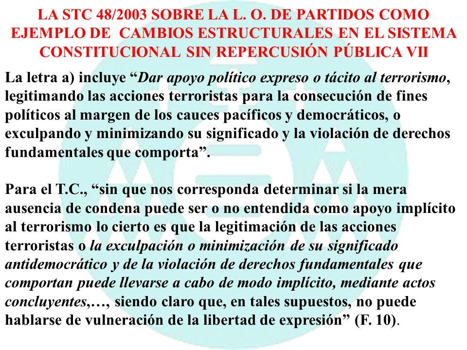 LA STC 48/2003 SOBRE LA L. O. DE PARTIDOS COMO EJEMPLO DE CAMBIOS ESTRUCTURALES EN EL SISTEMA CONSTITUCIONAL SIN REPERCUSIÓN PÚBLICA VII