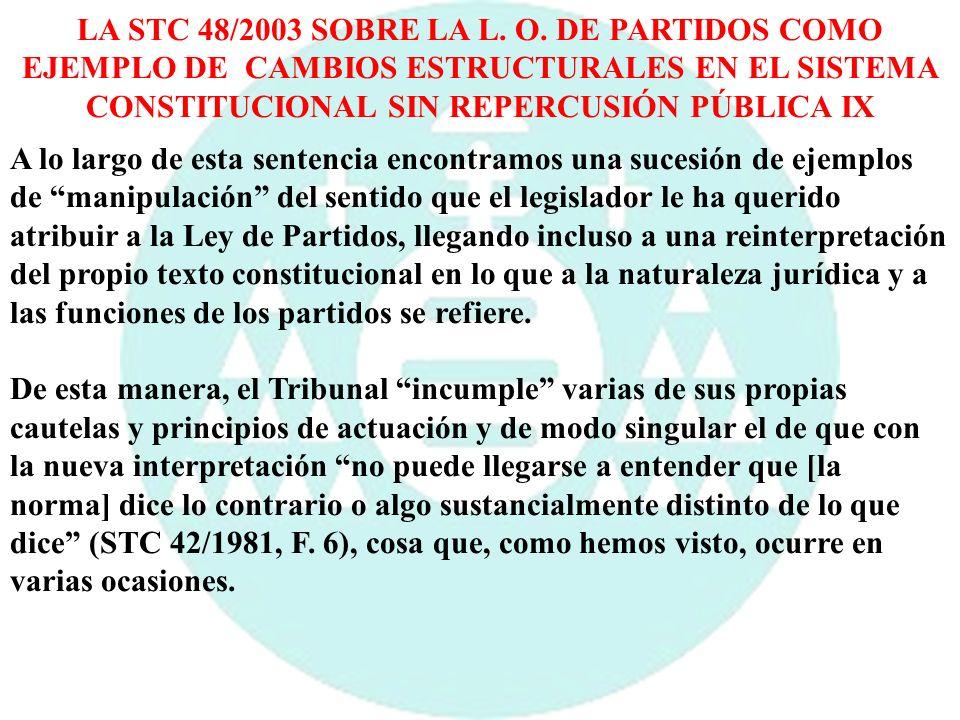 LA STC 48/2003 SOBRE LA L. O. DE PARTIDOS COMO EJEMPLO DE CAMBIOS ESTRUCTURALES EN EL SISTEMA CONSTITUCIONAL SIN REPERCUSIÓN PÚBLICA IX