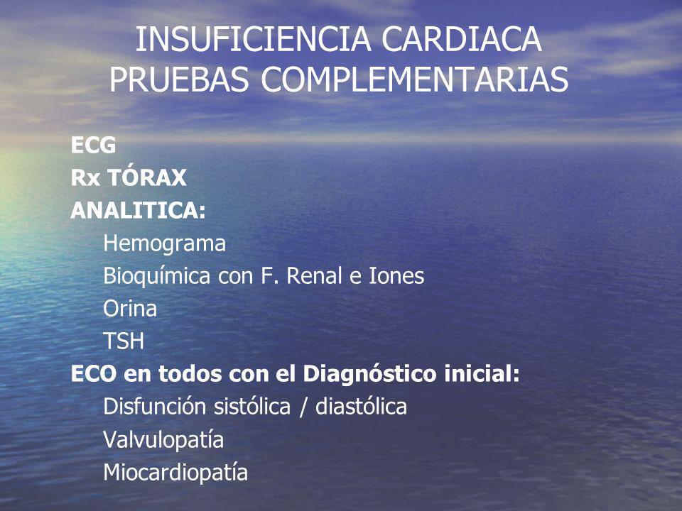 INSUFICIENCIA CARDIACA PRUEBAS COMPLEMENTARIAS