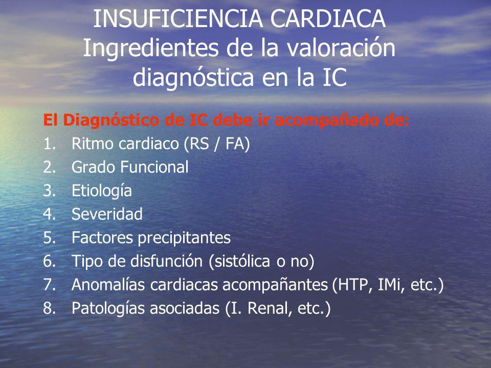 INSUFICIENCIA CARDIACA Ingredientes de la valoración diagnóstica en la IC