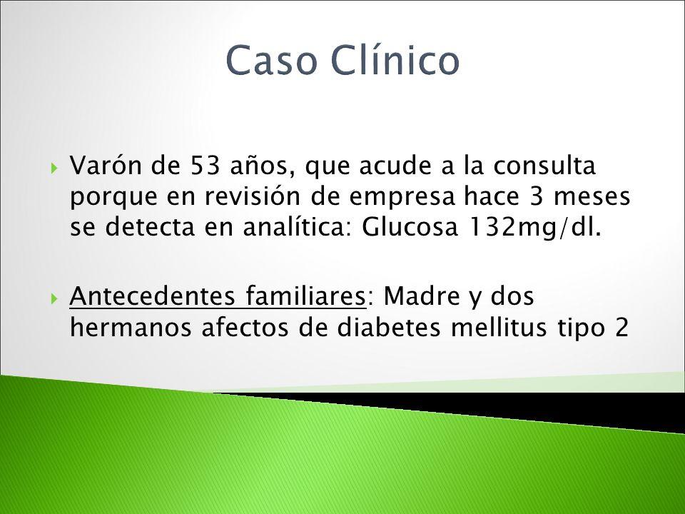 Caso Clínico Varón de 53 años, que acude a la consulta porque en revisión de empresa hace 3 meses se detecta en analítica: Glucosa 132mg/dl.