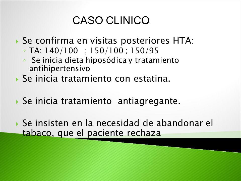 CASO CLINICO Se confirma en visitas posteriores HTA: