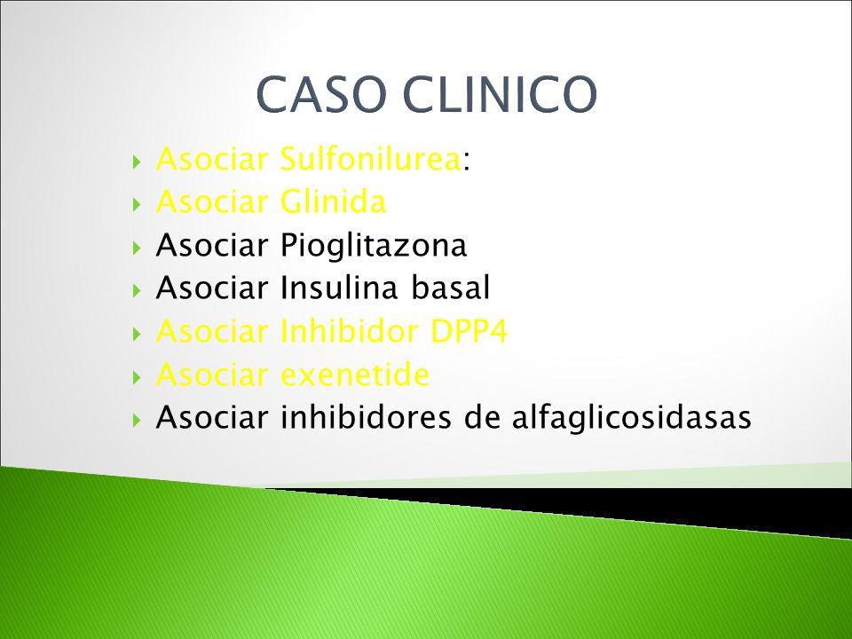CASO CLINICO Asociar Sulfonilurea: Asociar Glinida