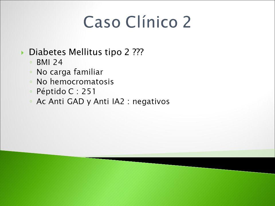 Caso Clínico 2 Diabetes Mellitus tipo 2 BMI 24 No carga familiar