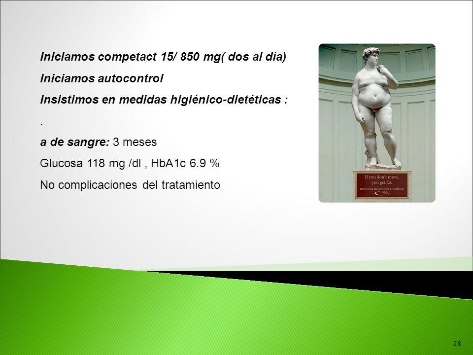 Iniciamos competact 15/ 850 mg( dos al día) Iniciamos autocontrol