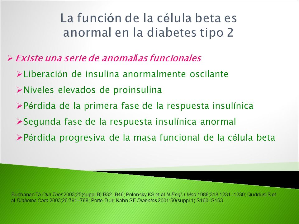 La función de la célula beta es anormal en la diabetes tipo 2