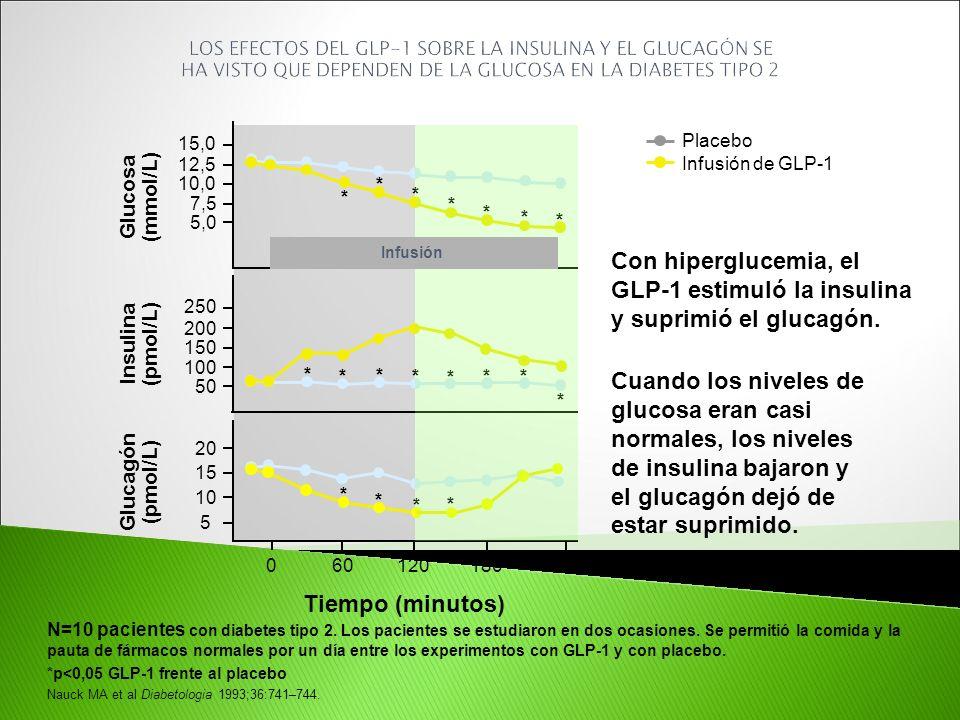 GLP-1 estimuló la insulina y suprimió el glucagón.