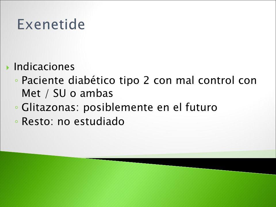 Exenetide Indicaciones. Paciente diabético tipo 2 con mal control con Met / SU o ambas. Glitazonas: posiblemente en el futuro.