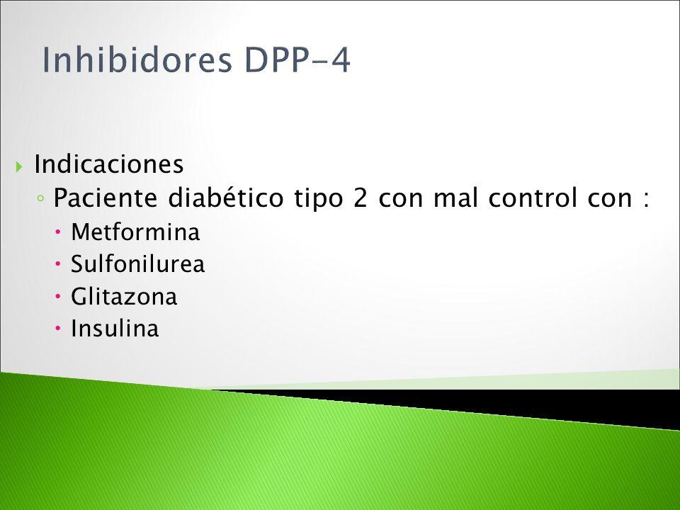 Inhibidores DPP-4 Paciente diabético tipo 2 con mal control con :
