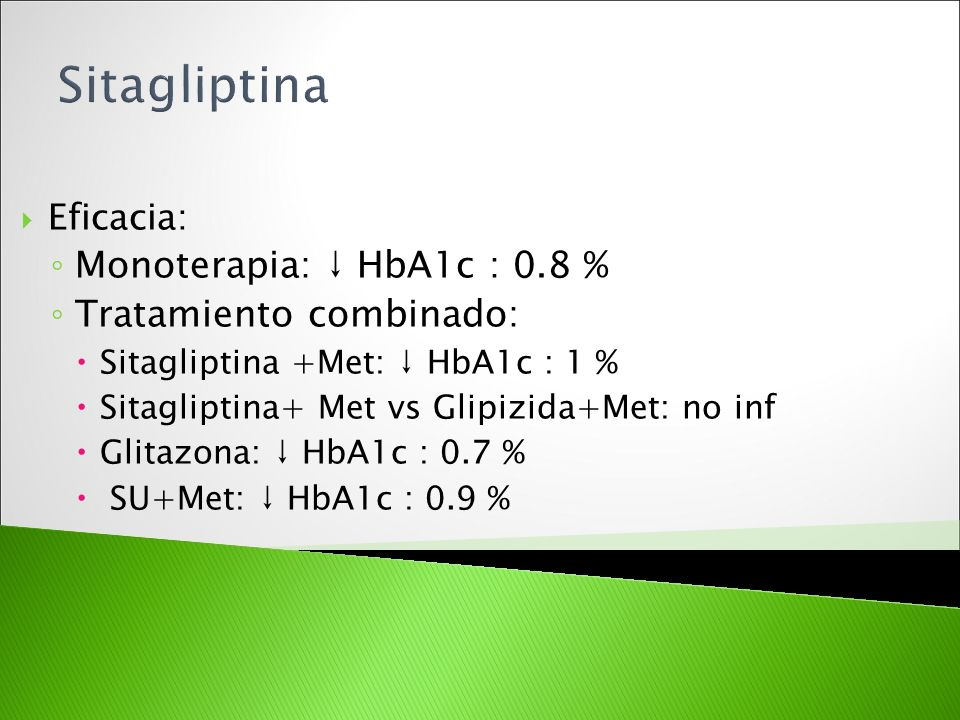 Sitagliptina Monoterapia: ↓ HbA1c : 0.8 % Tratamiento combinado:
