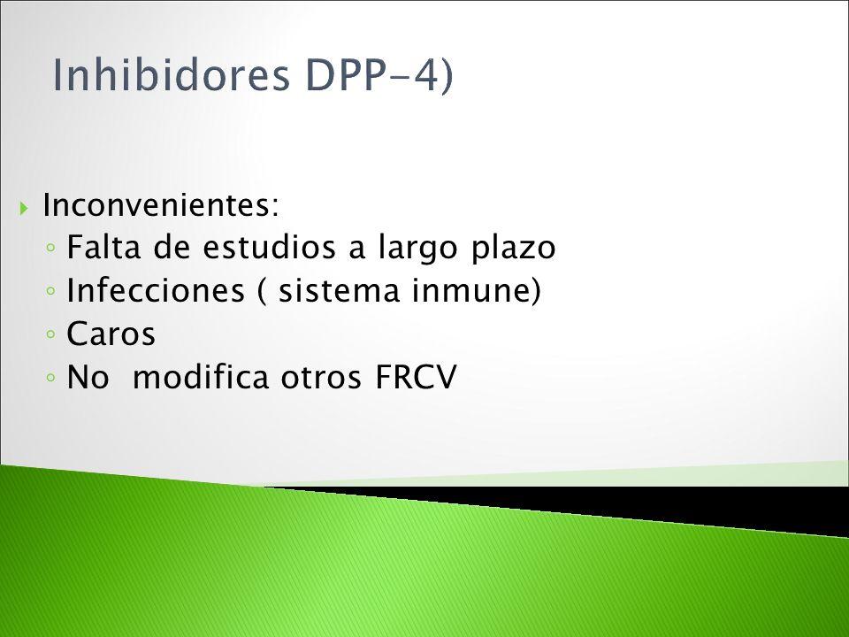 Inhibidores DPP-4) Falta de estudios a largo plazo