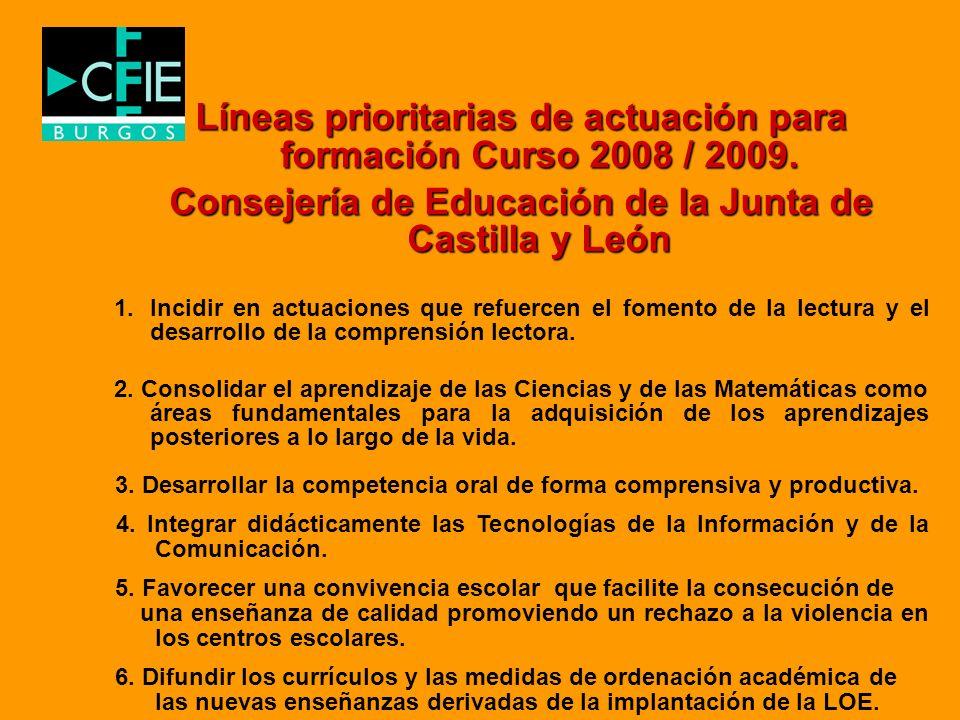 Líneas prioritarias de actuación para formación Curso 2008 / 2009.