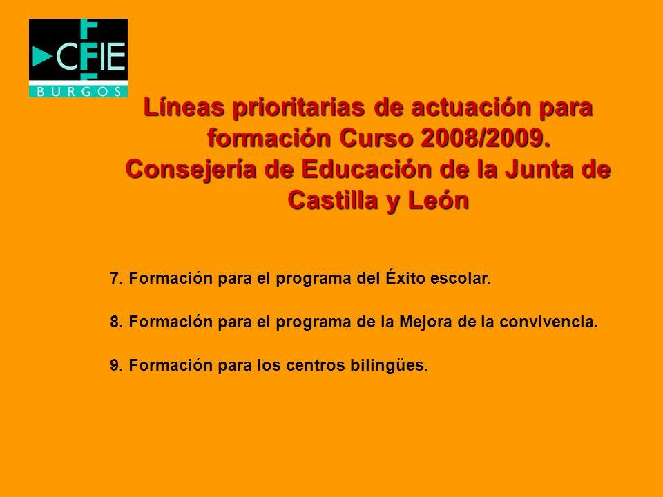 Líneas prioritarias de actuación para formación Curso 2008/2009.