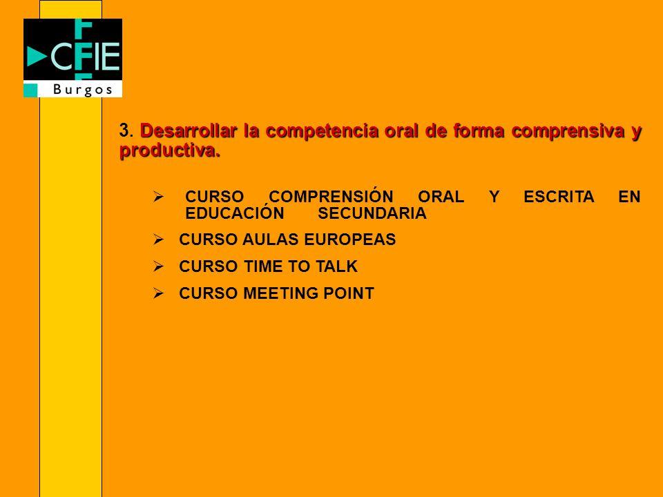 3. Desarrollar la competencia oral de forma comprensiva y productiva.