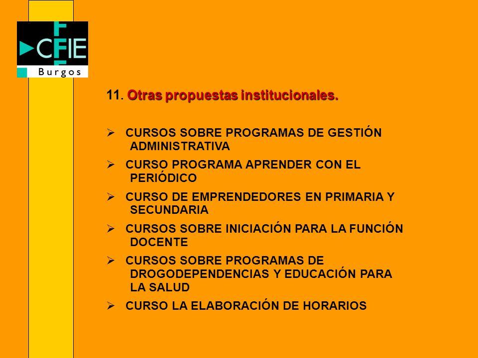 11. Otras propuestas institucionales.