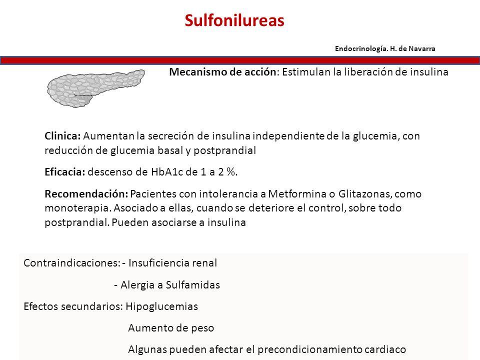 Sulfonilureas Mecanismo de acción: Estimulan la liberación de insulina