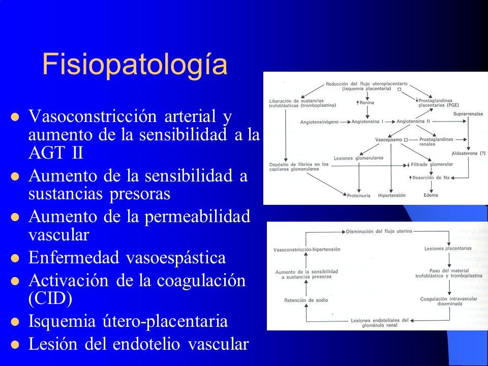 Fisiopatología Vasoconstricción arterial y aumento de la sensibilidad a la AGT II. Aumento de la sensibilidad a sustancias presoras.