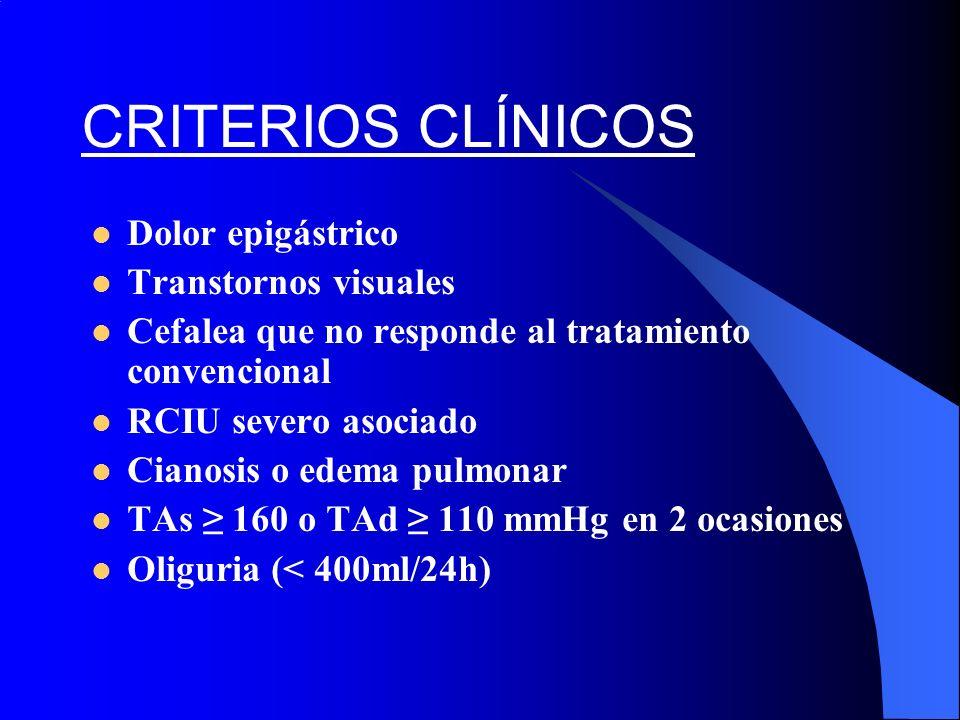 CRITERIOS CLÍNICOS Dolor epigástrico Transtornos visuales