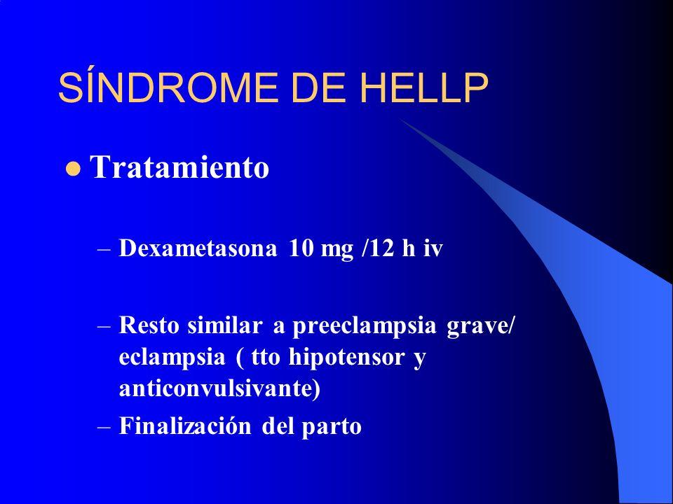 SÍNDROME DE HELLP Tratamiento Dexametasona 10 mg /12 h iv