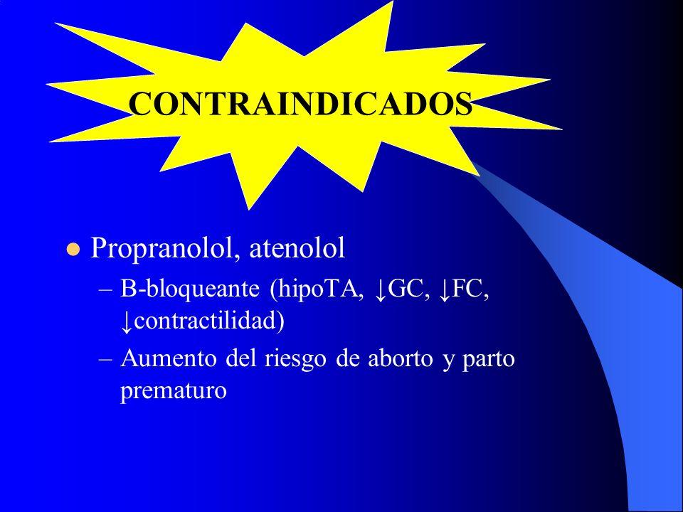 CONTRAINDICADOS Propranolol, atenolol