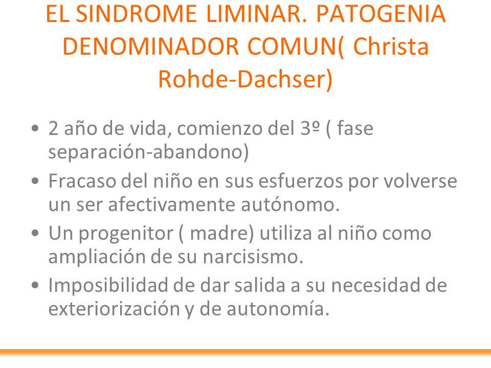 EL SINDROME LIMINAR. PATOGENIA DENOMINADOR COMUN( Christa Rohde-Dachser)