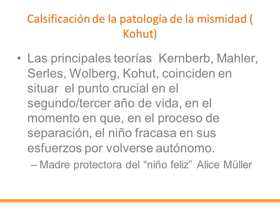 Calsificación de la patología de la mismidad ( Kohut)