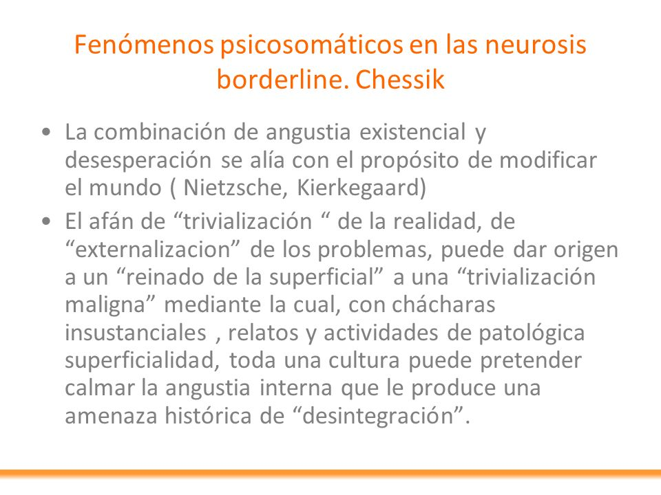 Fenómenos psicosomáticos en las neurosis borderline. Chessik
