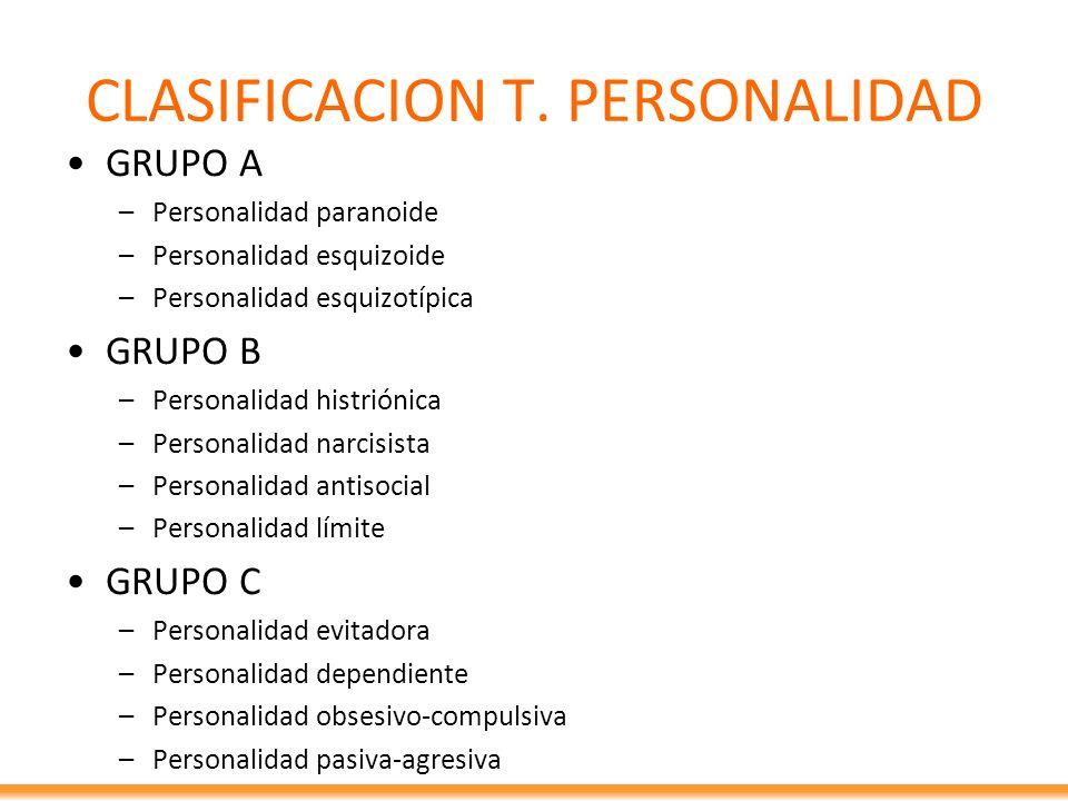 CLASIFICACION T. PERSONALIDAD