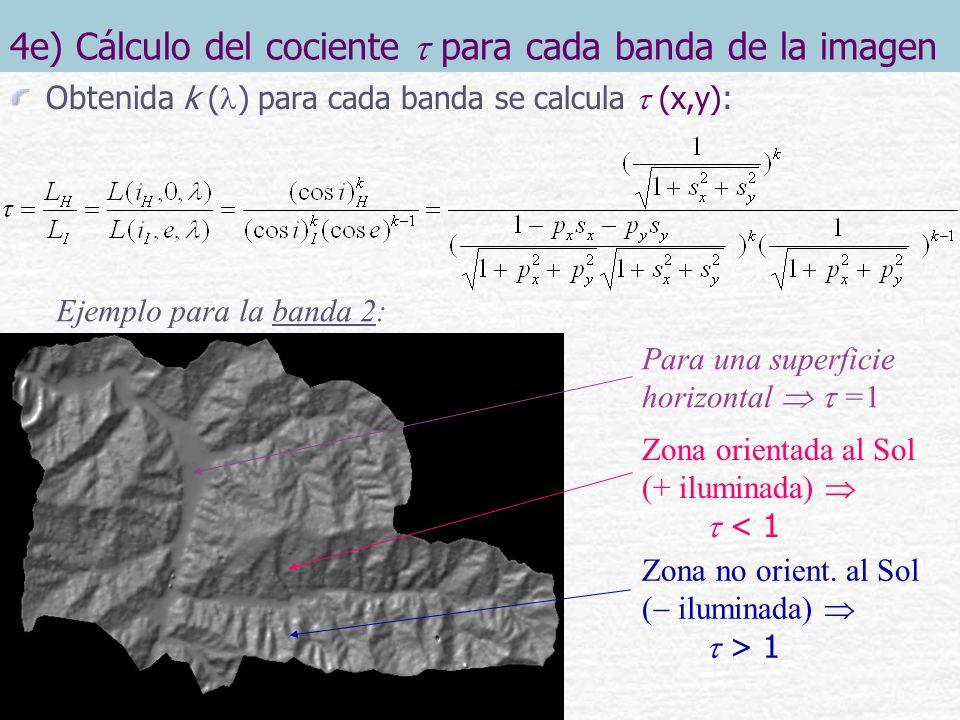4e) Cálculo del cociente  para cada banda de la imagen