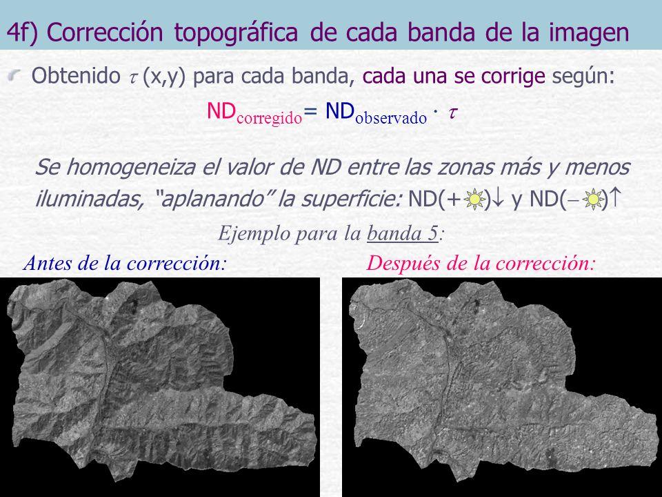 4f) Corrección topográfica de cada banda de la imagen