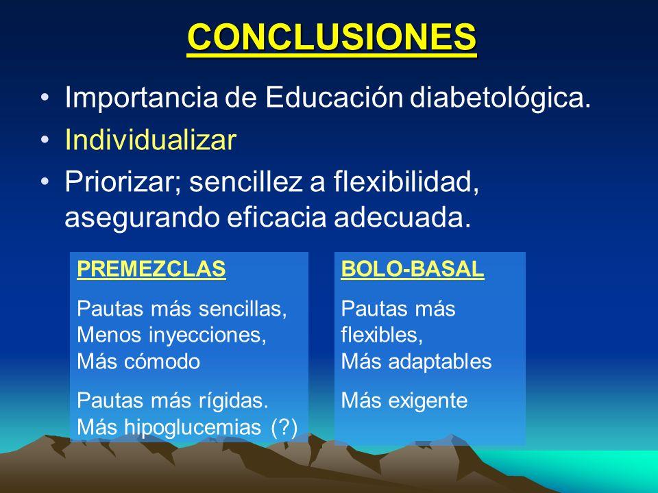 CONCLUSIONES Importancia de Educación diabetológica. Individualizar