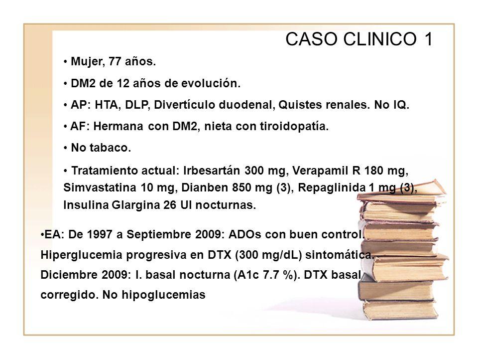 CASO CLINICO 1 Mujer, 77 años. DM2 de 12 años de evolución.
