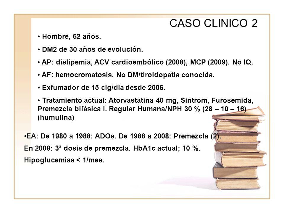 CASO CLINICO 2 Hombre, 62 años. DM2 de 30 años de evolución.
