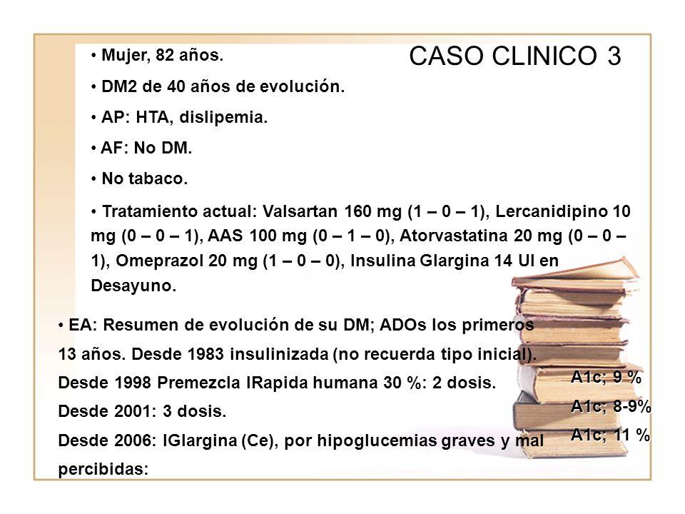 CASO CLINICO 3 Mujer, 82 años. DM2 de 40 años de evolución.