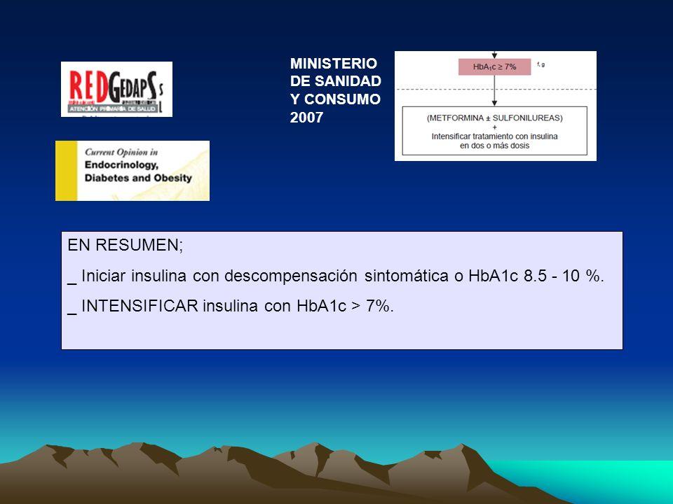 _ Iniciar insulina con descompensación sintomática o HbA1c 8.5 - 10 %.