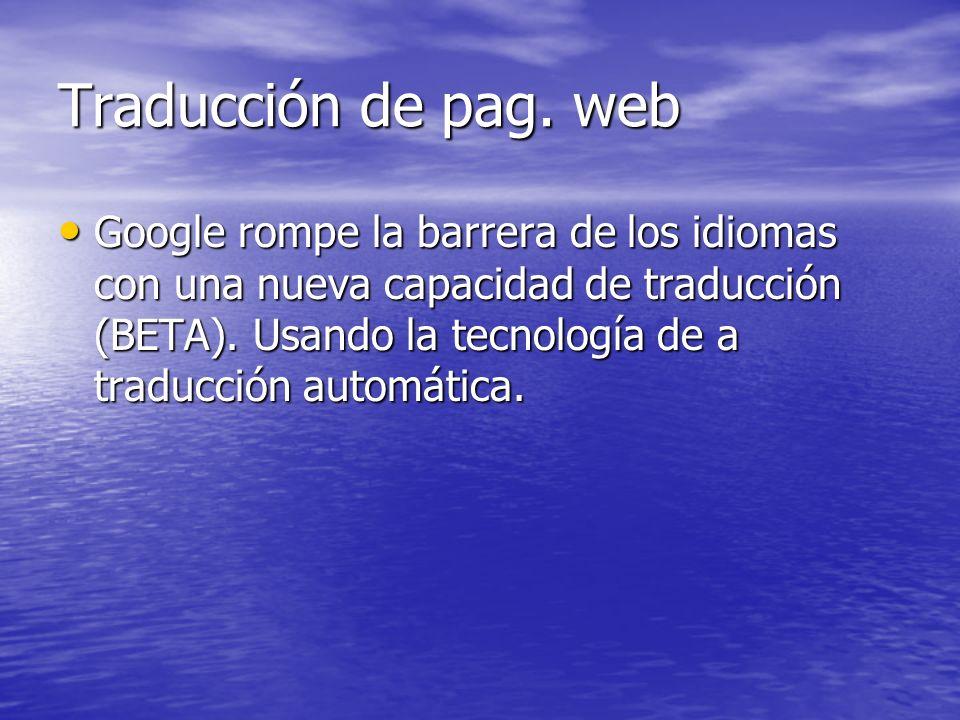 Traducción de pag. web
