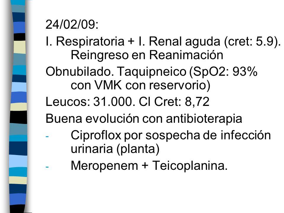 24/02/09: I. Respiratoria + I. Renal aguda (cret: 5.9). Reingreso en Reanimación. Obnubilado. Taquipneico (SpO2: 93% con VMK con reservorio)