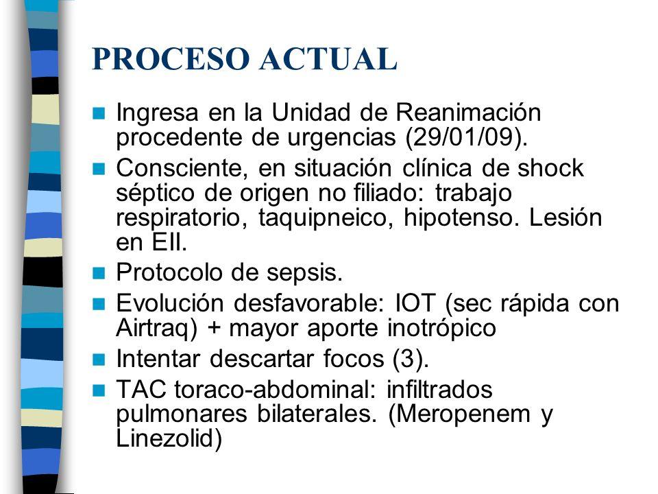 PROCESO ACTUALIngresa en la Unidad de Reanimación procedente de urgencias (29/01/09).