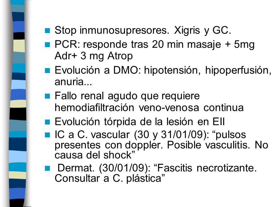 Stop inmunosupresores. Xigris y GC.