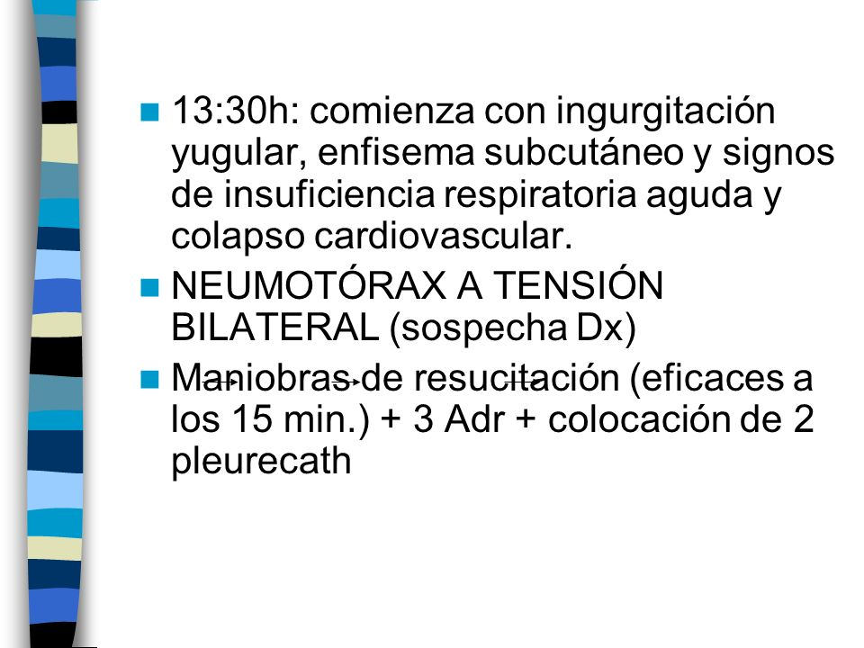 13:30h: comienza con ingurgitación yugular, enfisema subcutáneo y signos de insuficiencia respiratoria aguda y colapso cardiovascular.
