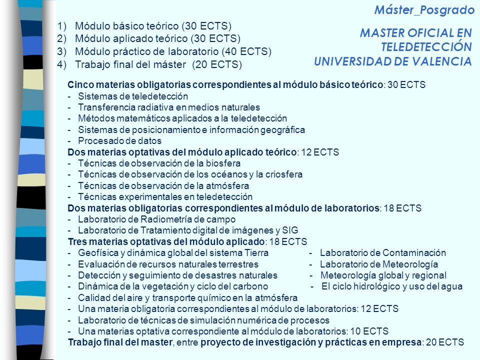 MASTER OFICIAL EN TELEDETECCIÓN UNIVERSIDAD DE VALENCIA