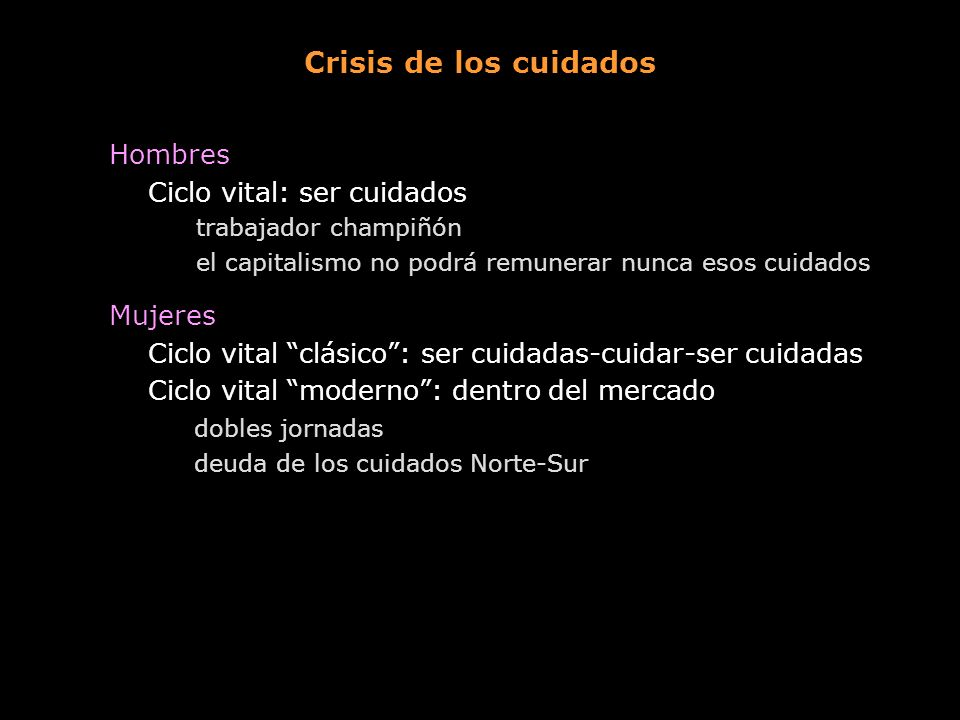 Crisis de los cuidados Hombres Ciclo vital: ser cuidados Mujeres