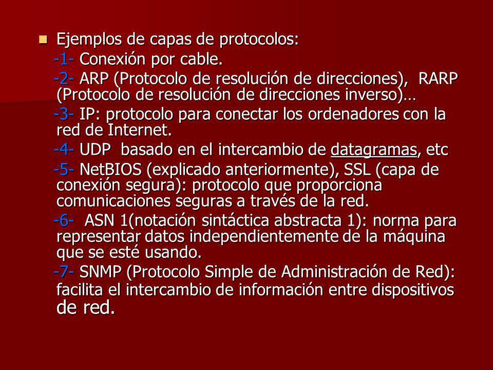 Ejemplos de capas de protocolos: