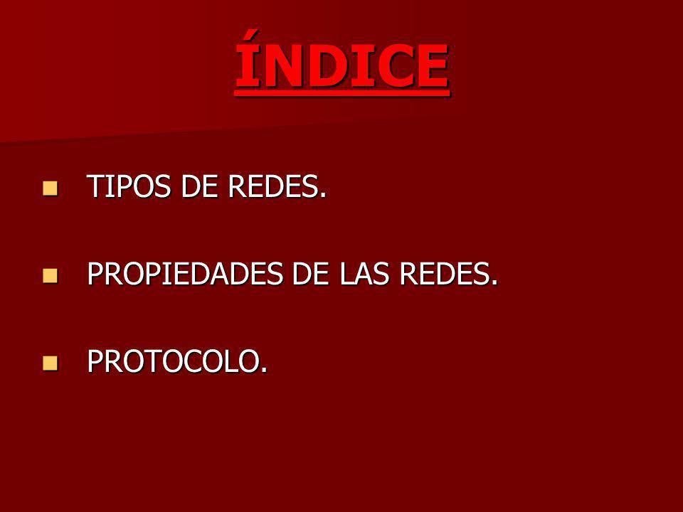 ÍNDICE TIPOS DE REDES. PROPIEDADES DE LAS REDES. PROTOCOLO.