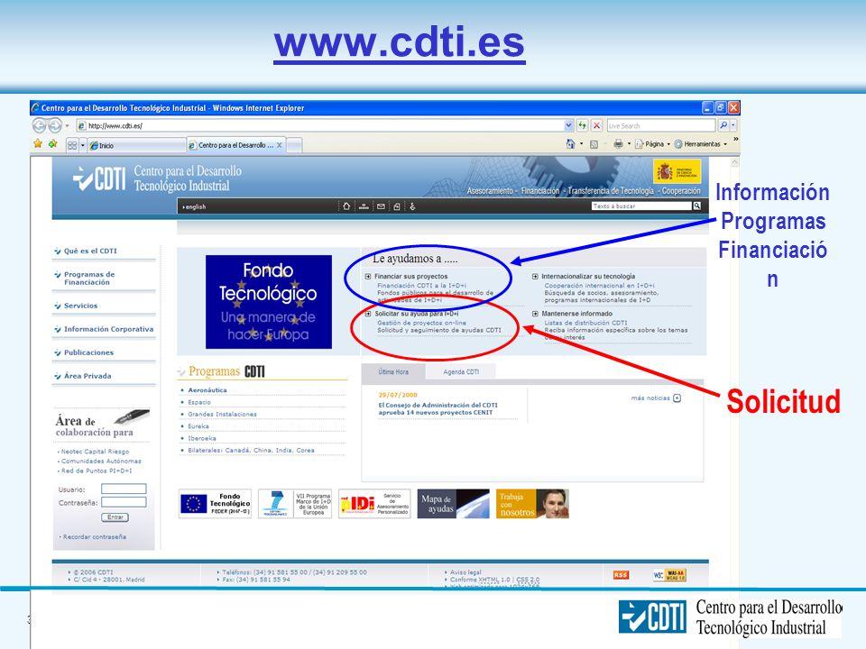 Información Programas Financiación