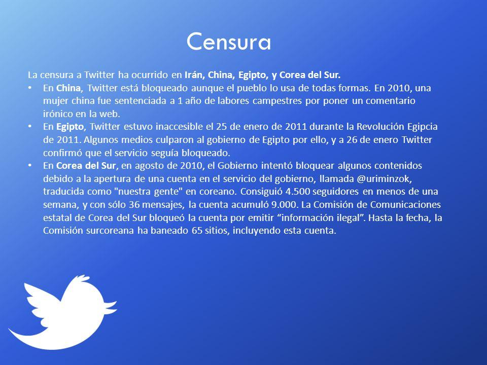 CensuraLa censura a Twitter ha ocurrido en Irán, China, Egipto, y Corea del Sur.
