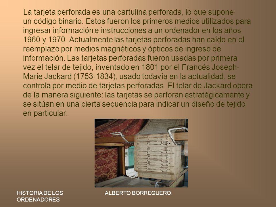 La tarjeta perforada es una cartulina perforada, lo que supone un código binario. Estos fueron los primeros medios utilizados para ingresar información e instrucciones a un ordenador en los años 1960 y 1970. Actualmente las tarjetas perforadas han caído en el reemplazo por medios magnéticos y ópticos de ingreso de información. Las tarjetas perforadas fueron usadas por primera vez el telar de tejido, inventado en 1801 por el Francés Joseph-Marie Jackard (1753-1834), usado todavía en la actualidad, se controla por medio de tarjetas perforadas. El telar de Jackard opera de la manera siguiente: las tarjetas se perforan estratégicamente y se sitúan en una cierta secuencia para indicar un diseño de tejido en particular.