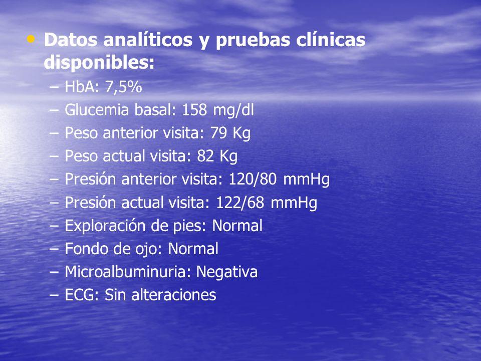Datos analíticos y pruebas clínicas disponibles: