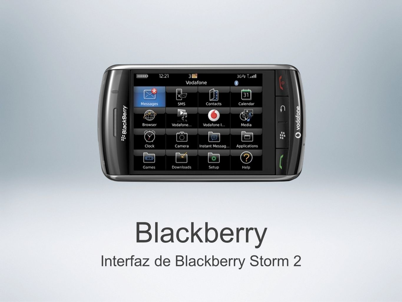 Interfaz de Blackberry Storm 2